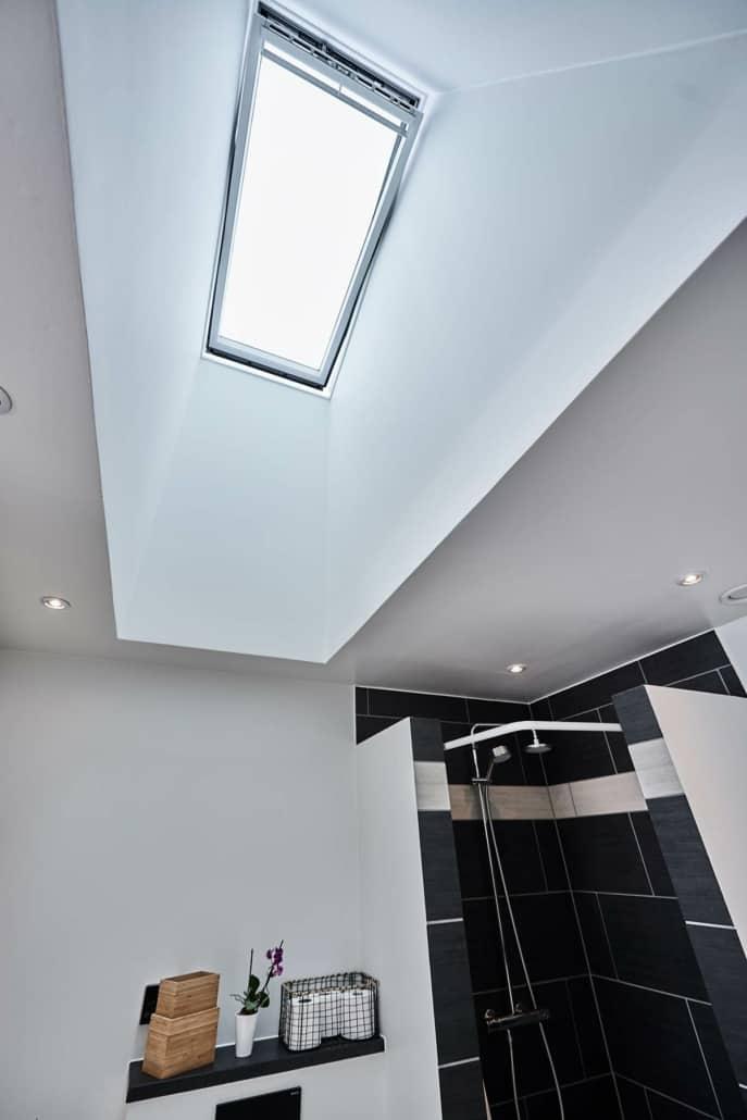 Ovenbelysning og loftvindue, stort udvalg af velux vinduer på badeværelse